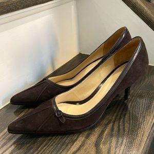 LOFT Ann Taylor Brown Suede Heel Shoes 6.5M